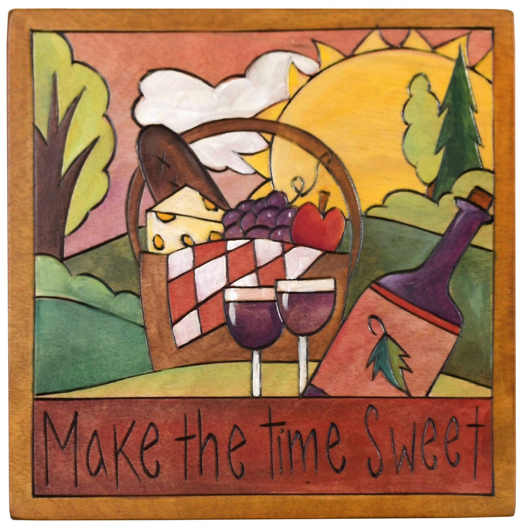 "Sticks handmade wall plaque with ""Make the time sweet"" quote and picnic basket imagery with wine"