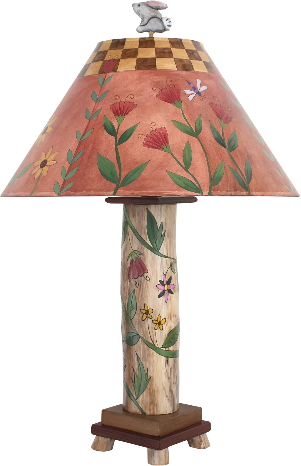 Log Table Lamp –  Pretty little table lamp with floral and vine motifs