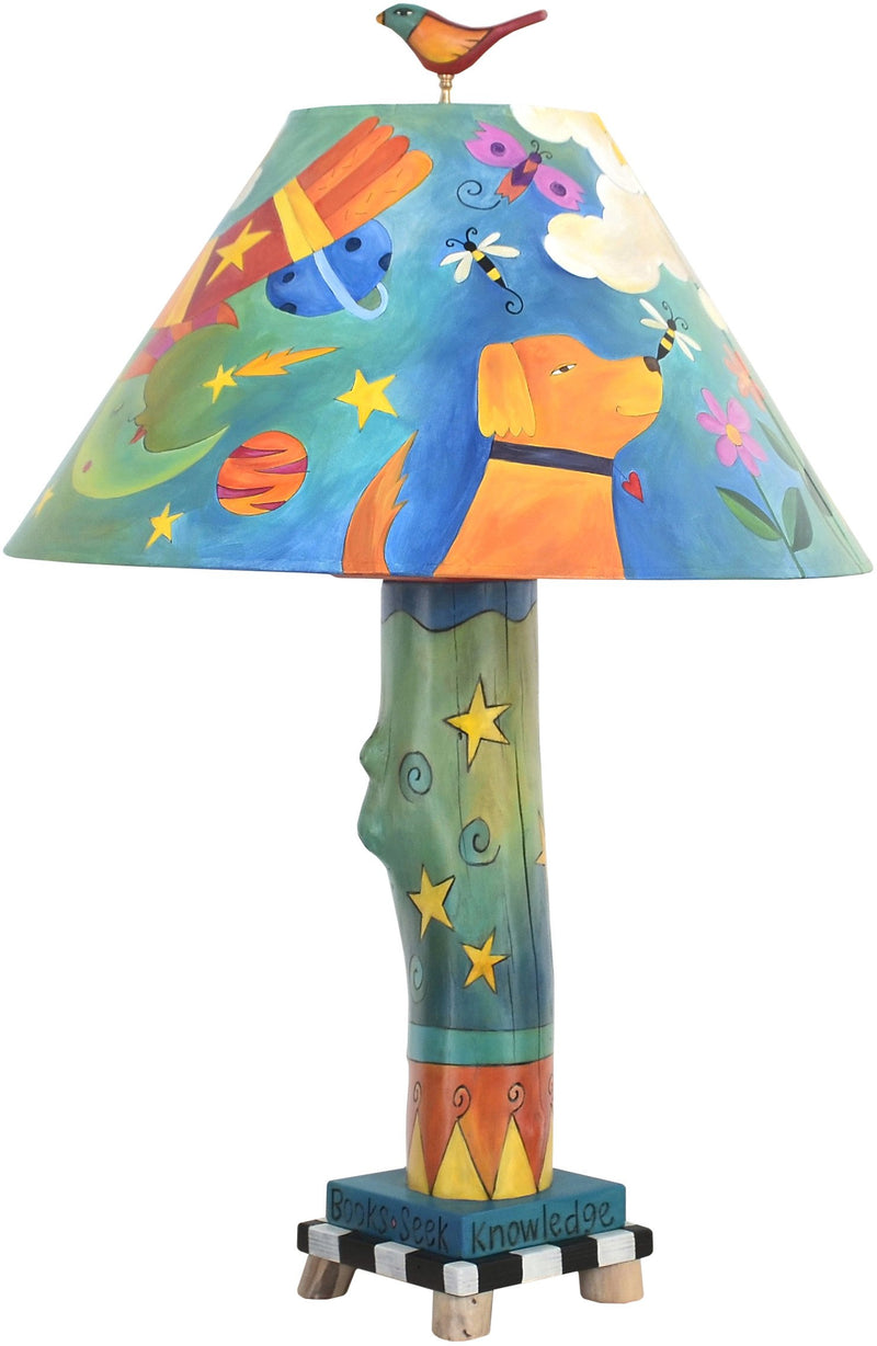 Log Table Lamp –  Bright and colorful table lamp with floating icons and symbols