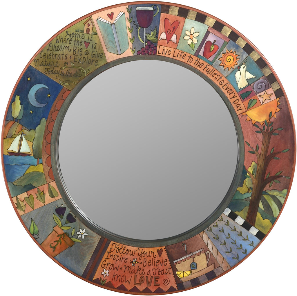 Large Circle Mirror –  Round wall mirror with inspirational messages, colorful block icons and patterns