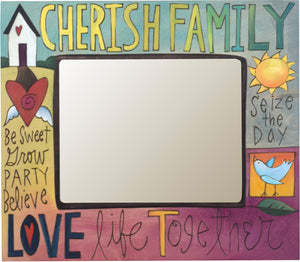 "8""x10"" Frame –  Cherish Family/Love Life Together frame with home and heart motif"