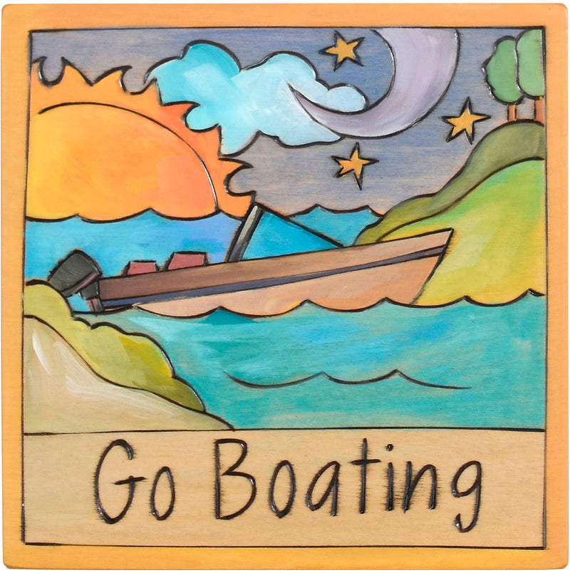 "7""x7"" Plaque –  ""Go boating"" design with a boat floating along a shoreline"