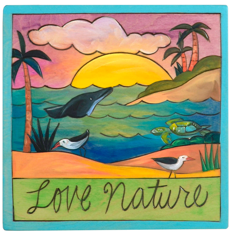 "7""x7"" Plaque –  A tropical animal themed ""love nature"" plaque"