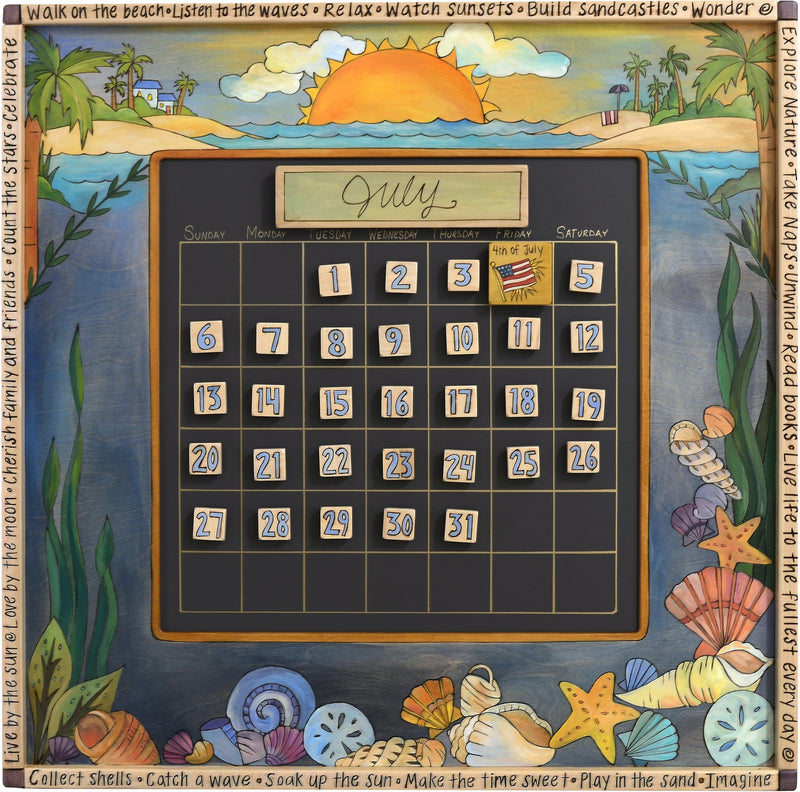 Large Perpetual Calendar –  Beautiful coastal themed calendar in beach tones