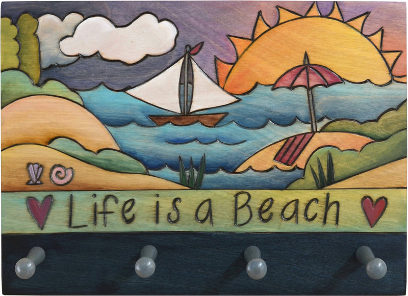 "Horizontal Key Ring Plaque –  ""Live is a Beach"" coastal themed key ring plaque with beach elements"