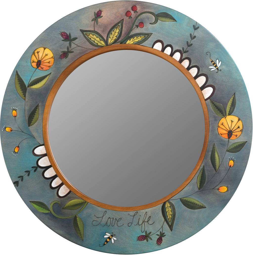 "Large Circle Mirror –  Large round mirror with floral motifs and garden theme, ""Love Life"""