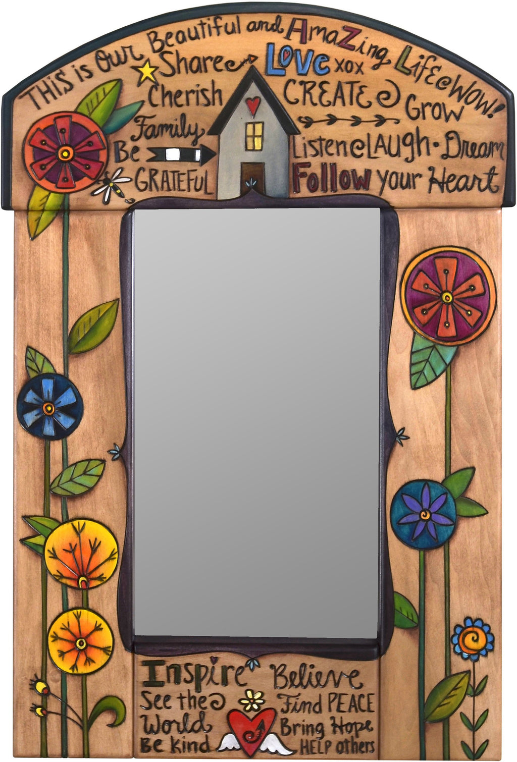"Small Mirror –  ""This is Our Beautiful and Amazing Life"" mirror with contemporary floral and home motif"