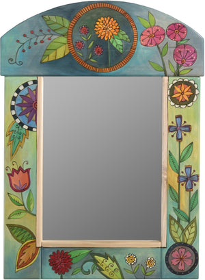 Medium Mirror –  Flower mirror with colorful floral motif with cool colored background