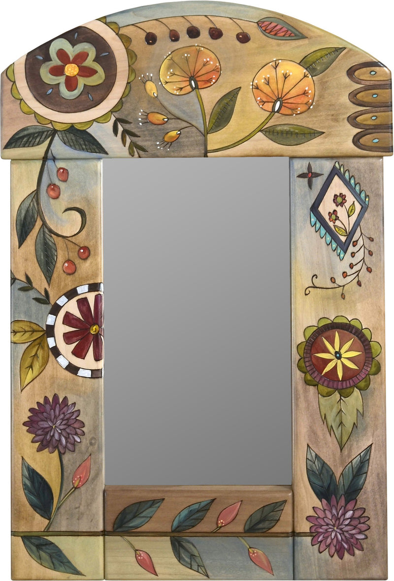 Small Mirror –  Small mirror with colorful contemporary floral motif