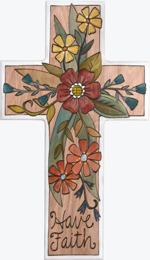 Cross Plaque –  Have Faith cross plaque with floral motif