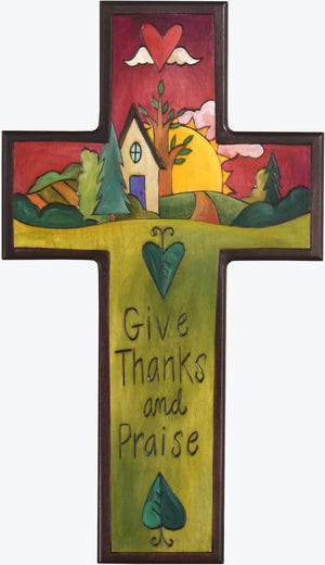 Cross Plaque –  Give Thanks and Praise cross plaque with home and sunset on the horizon motif