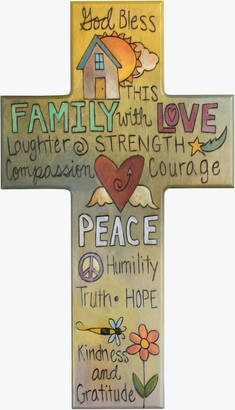 Cross Plaque –  Family/Love/Peace cross plaque with yellow themed words and home motif