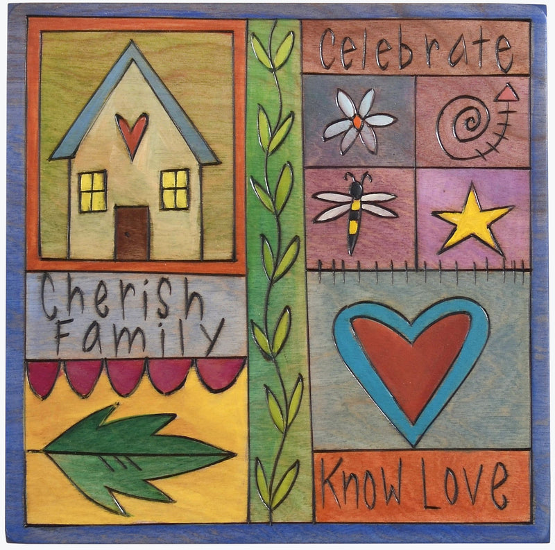 "Sticks handmade wall plaque with ""Cherish Family, Celebrate and Know Love"" quotes with colorful block icons"
