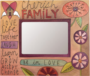 "Sticks handmade 5x7"" picture frame with floral cherish family motif"