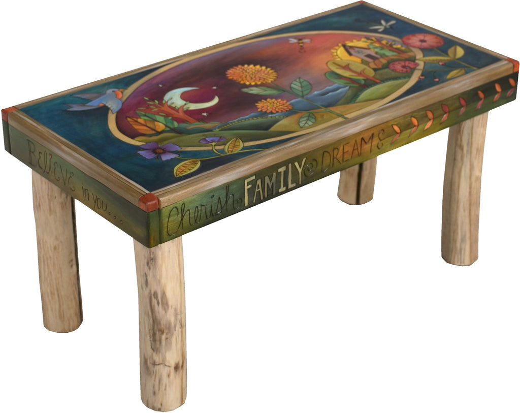 Sticks handmade 3' bench with lovely folk art landscape and contemporary floral design