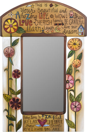 "Small Mirror –  ""This is your Beautiful and Amazing Life"" mirror with beautiful contemporary floral motif"