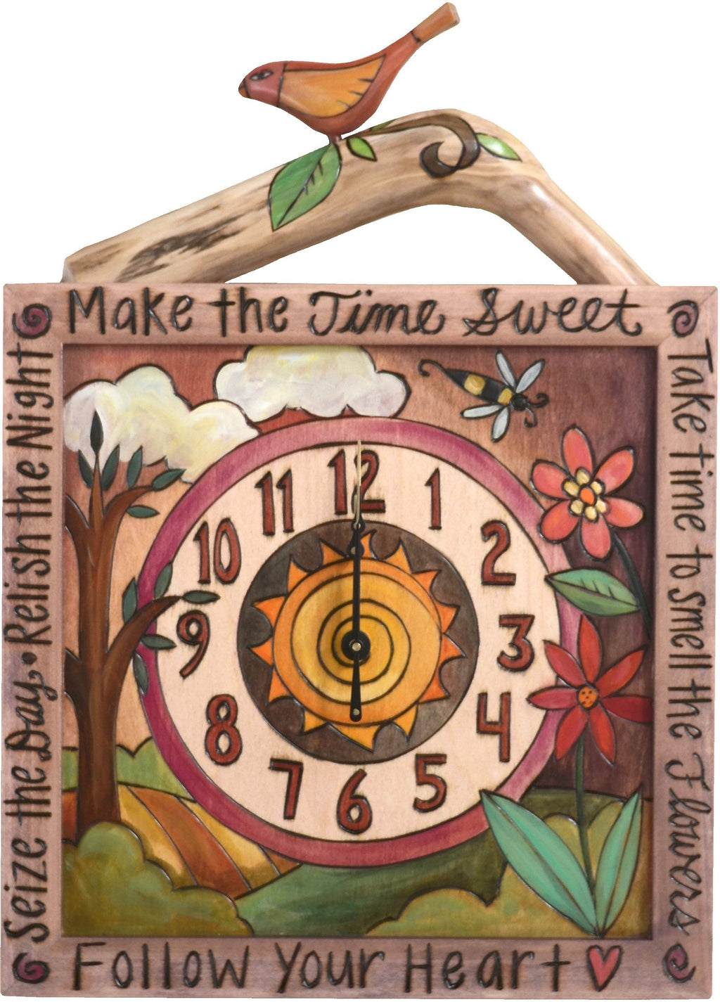 "Square Wall Clock –  ""Follow your Heart"" wall clock with flower and tree of life motif"