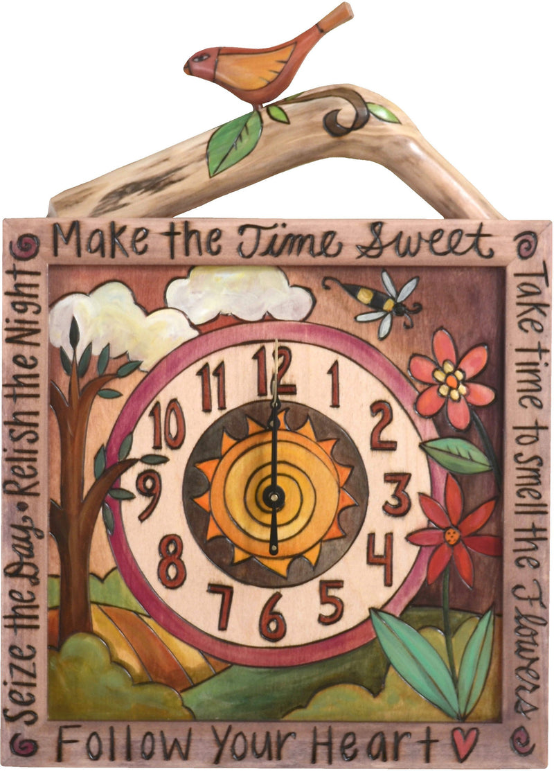 Sticks handmade square wall clock