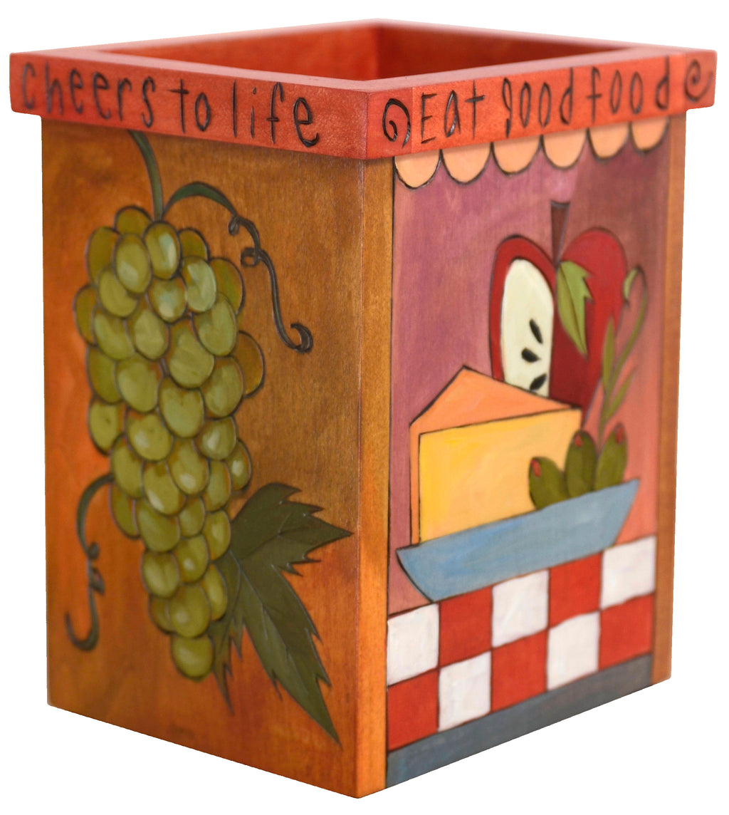 "Vase/Utensil Box – ""Cheers to life"" grapes and cheese box design"