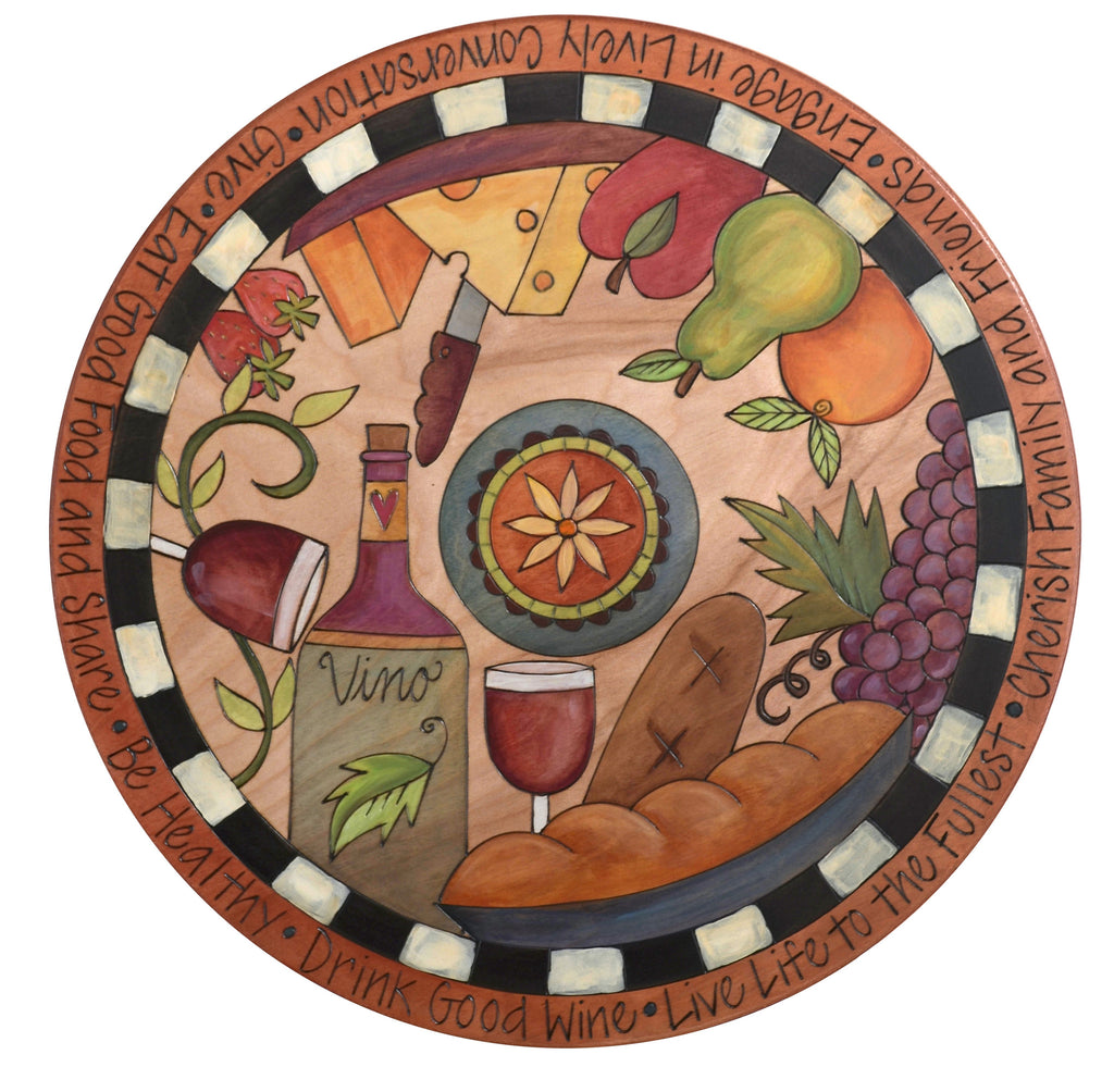 "Sticks Handmade 20""D lazy susan with wine, cheese, fruit and bread"
