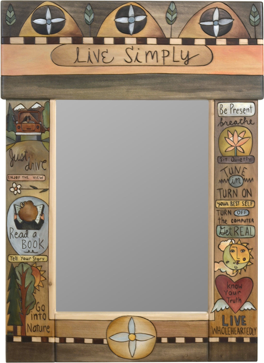 "Medium Mirror –  ""Live Simply"" mirror with natural color scheme and nature inspired motif"