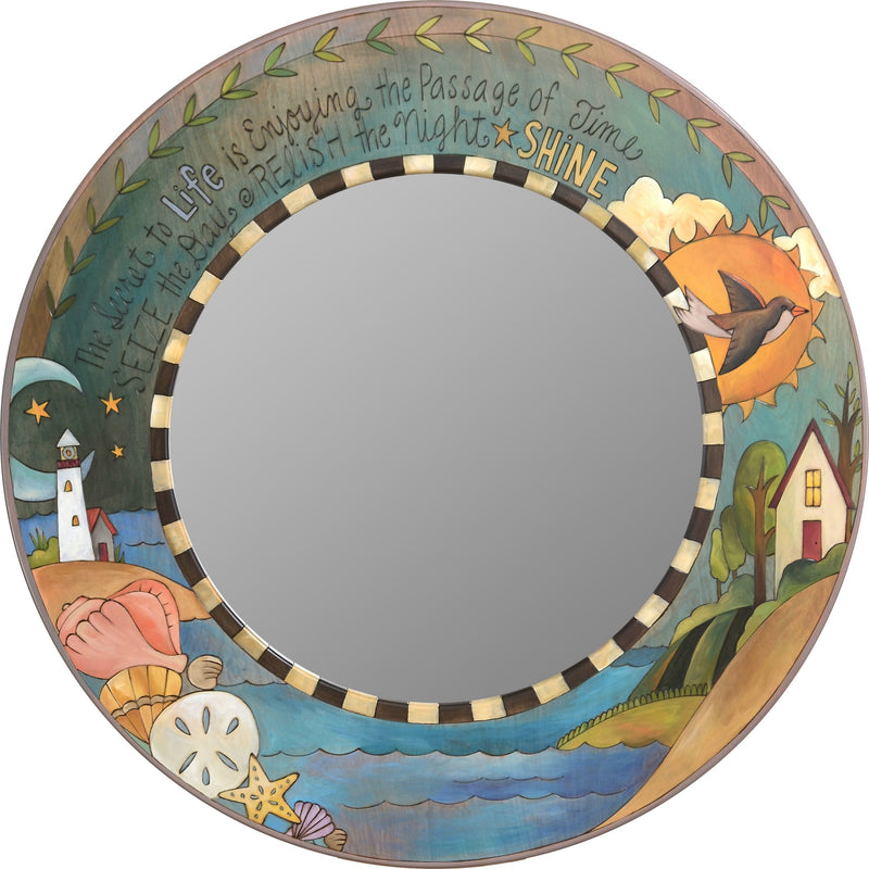 Large Circle Mirror –  Coastal themed large round mirror with inspirational phrases