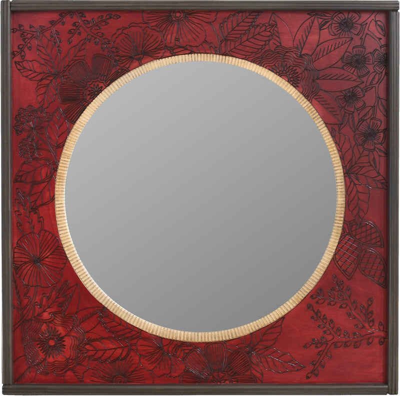 Square Mirror –  Bright mirror with beautiful floral motif on red background