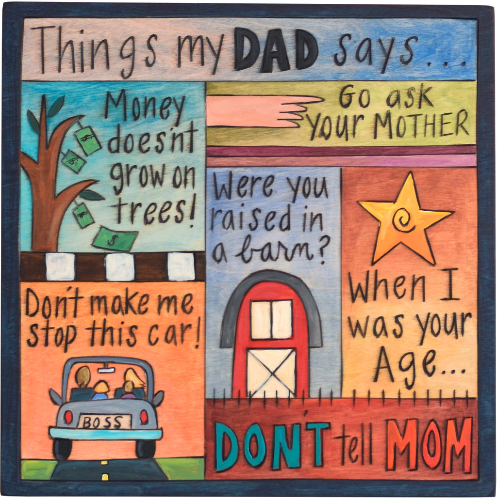 """Things my dad says"" plaque with classic dad euphemisms and matching icons"