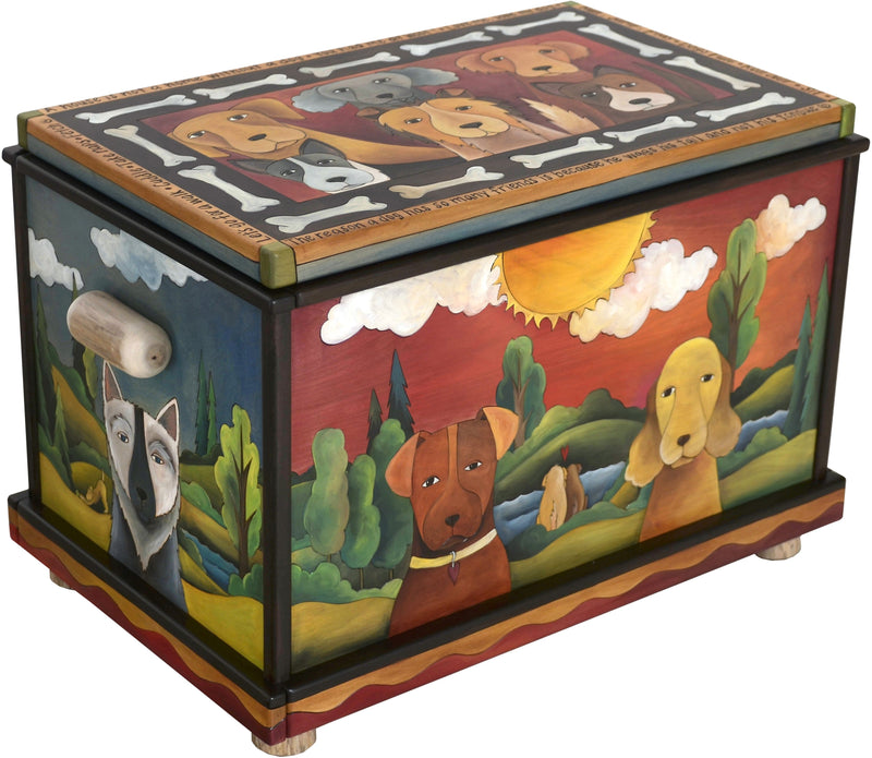 "Chest –  ""A House is not a Home without a Dog"" chest with dog motif"