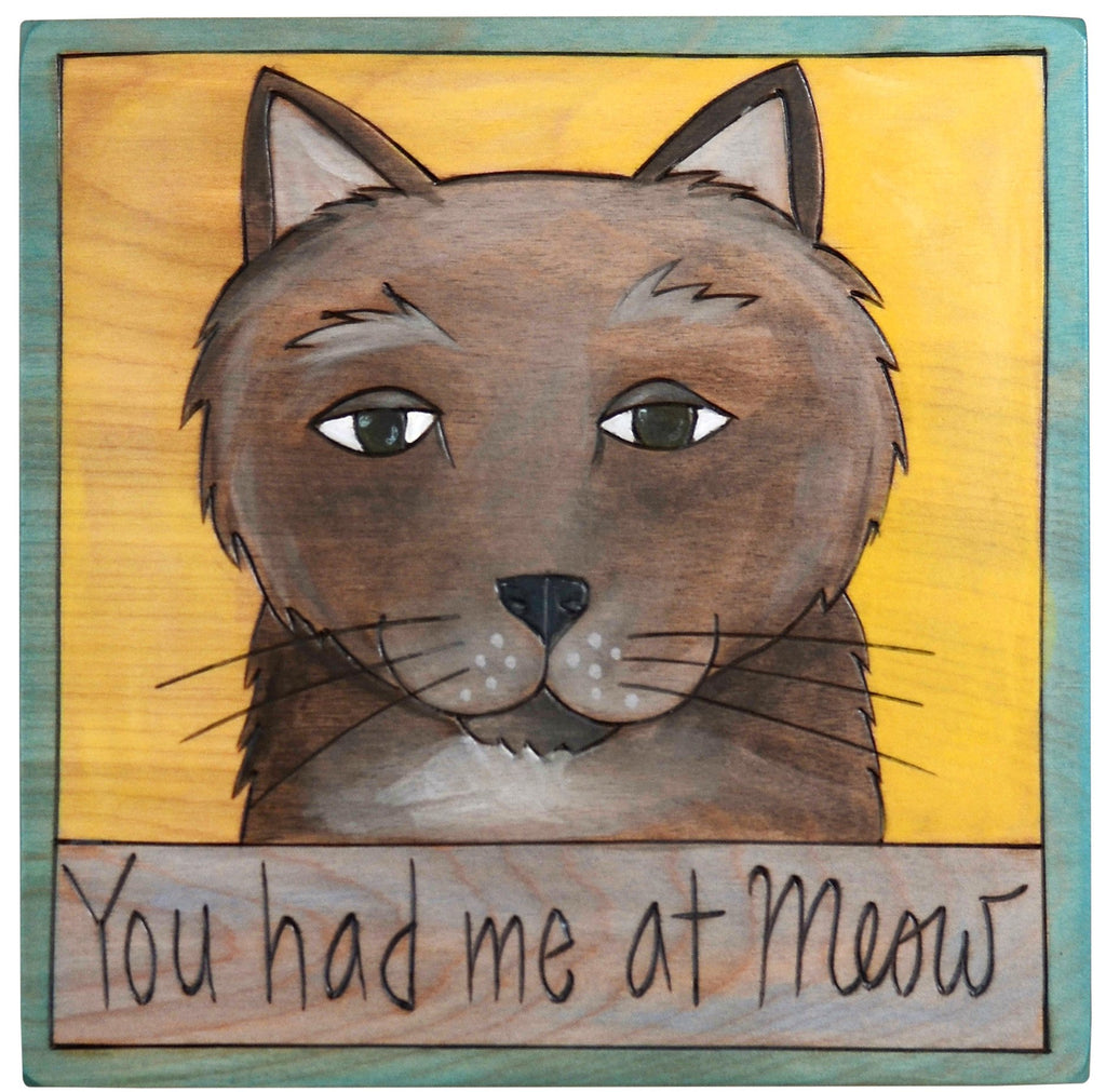 "Sticks handmade wall plaque with ""You had me at Meow"" quote and cute grey cat"