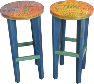 "Round Stool Set –  Colorful and playful matching stools, ""Hug and Peace"""
