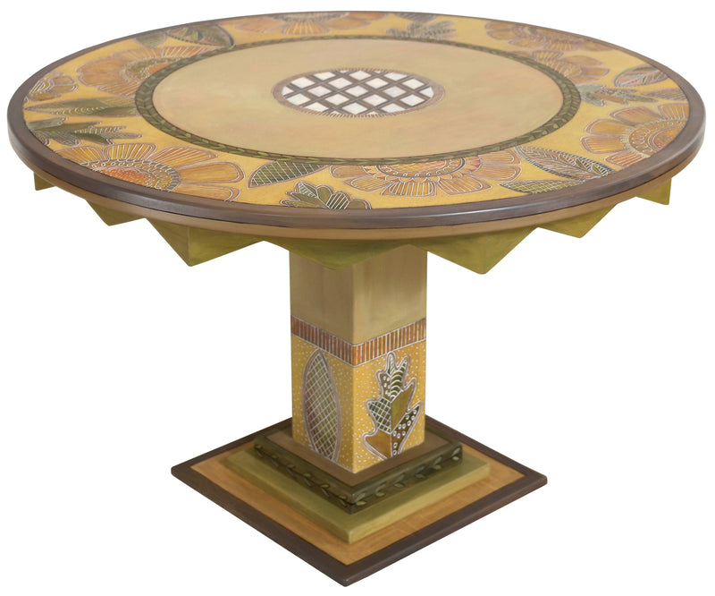 Sticks handmade dining table with elegant floral design