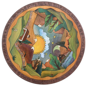 "Sticks Handmade 24""D lazy susan with horse ranch and mountain landscape"