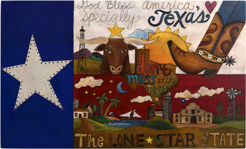 "Pledge of Allegiance Flag Plaque Texas Edition –  Large plaque honoring Texas, ""The Lone Star State"""