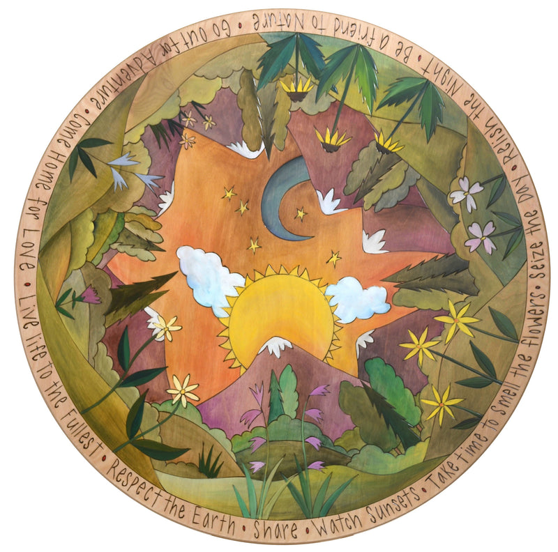 "Sticks Handmade 28""D lazy susan with mountain landscape and wild flowers"