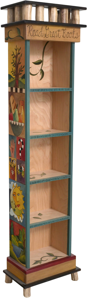 Tall Bookcase –  Lovely tall bookcase with vine motifs and colorful block icons