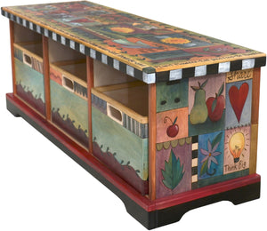 Storage Bench with Boxes –  Elegant storage bench with colorful block icons and symbols