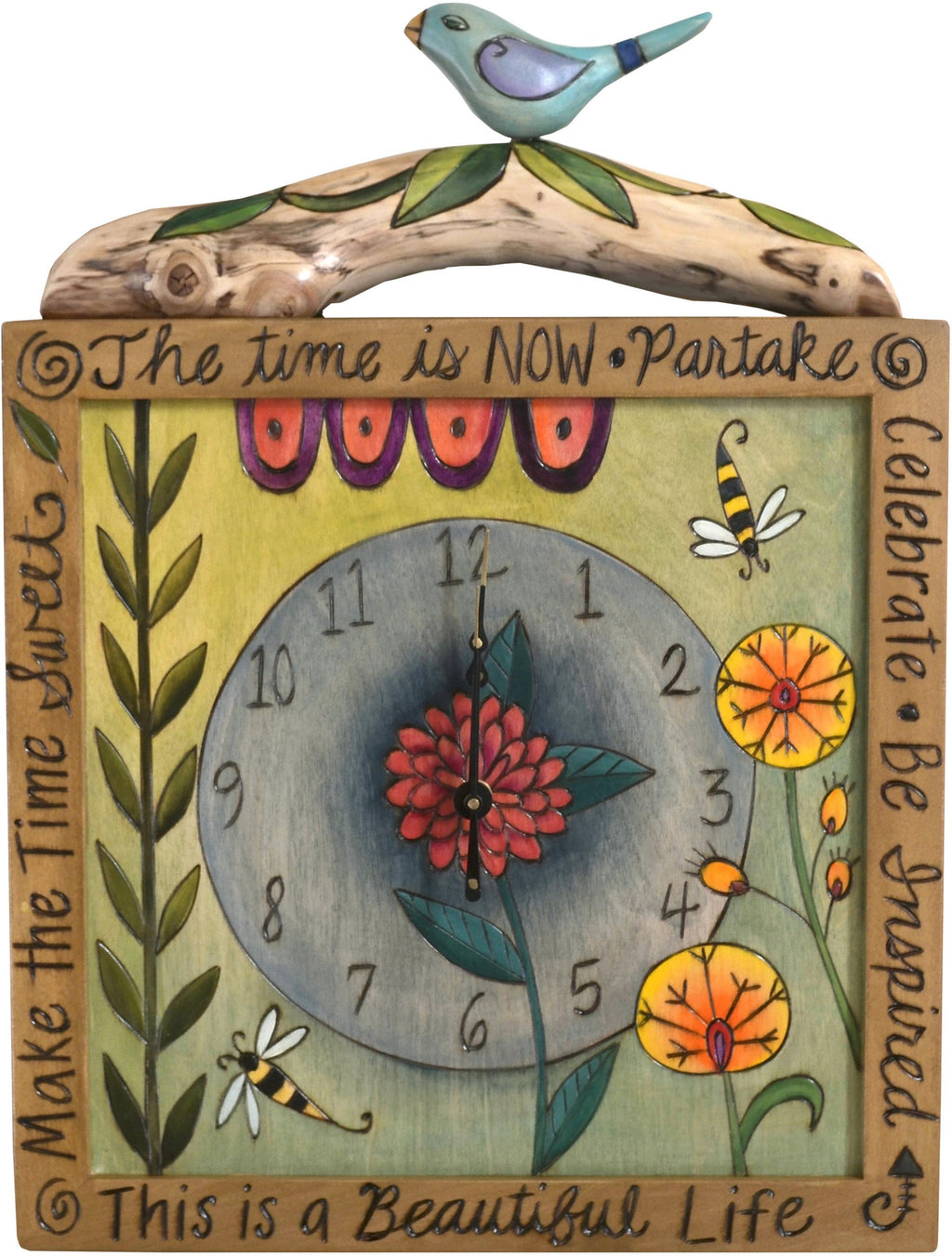 "Square Wall Clock –  ""The Time is Now"" wall clock with contemporary floral and bird motif"