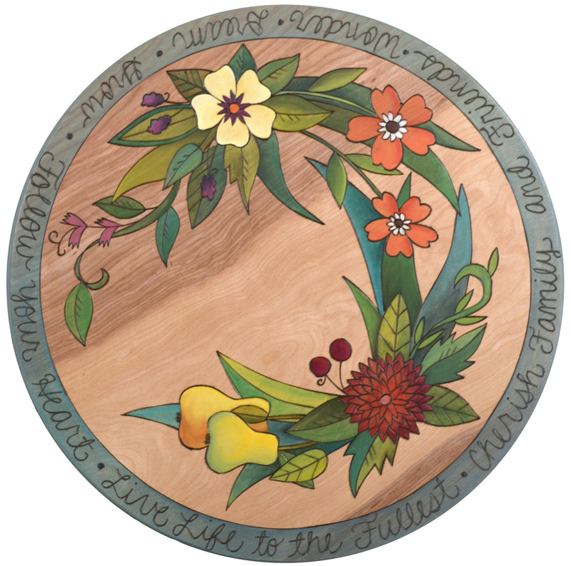 "Sticks Handmade 20""D lazy susan with floral design and pears"
