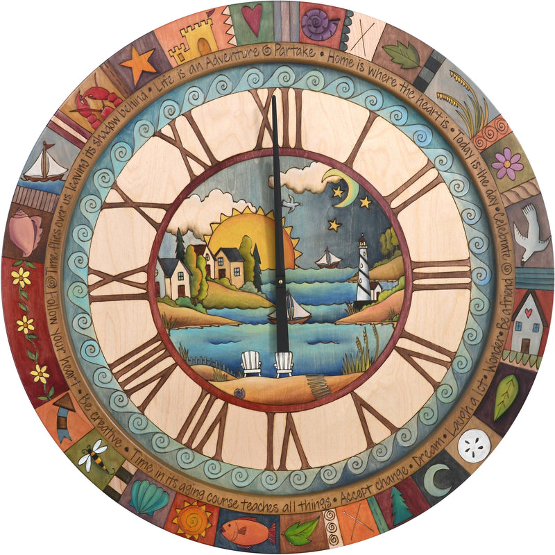 "Sticks handmade 36""D wall clock with coastal themes and colorful life icons"