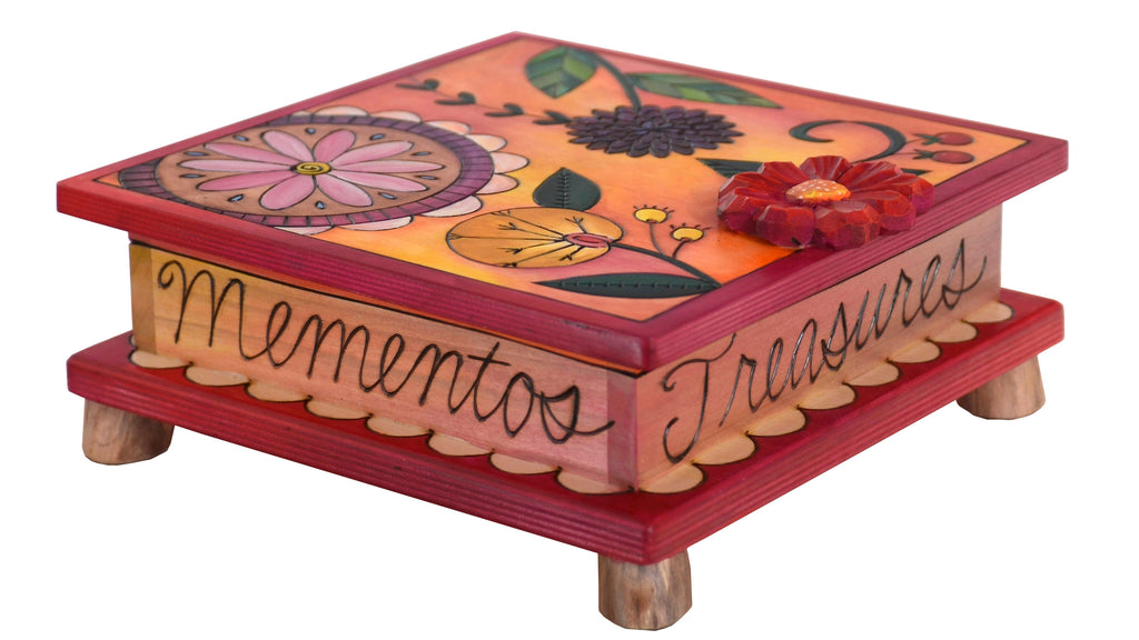 Keepsake Box – Contemporary floral motif done in vibrant, warm tones
