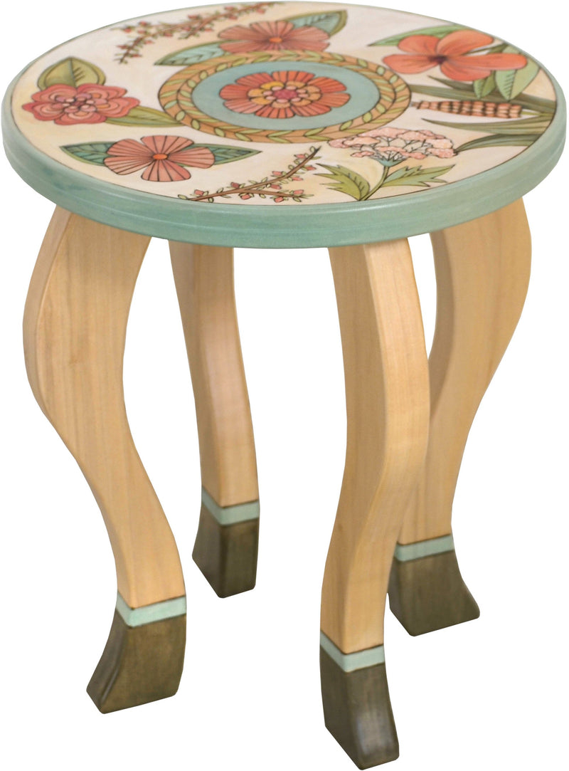 Round End Table –  Elegant and neutral end table with pastel floral motifs