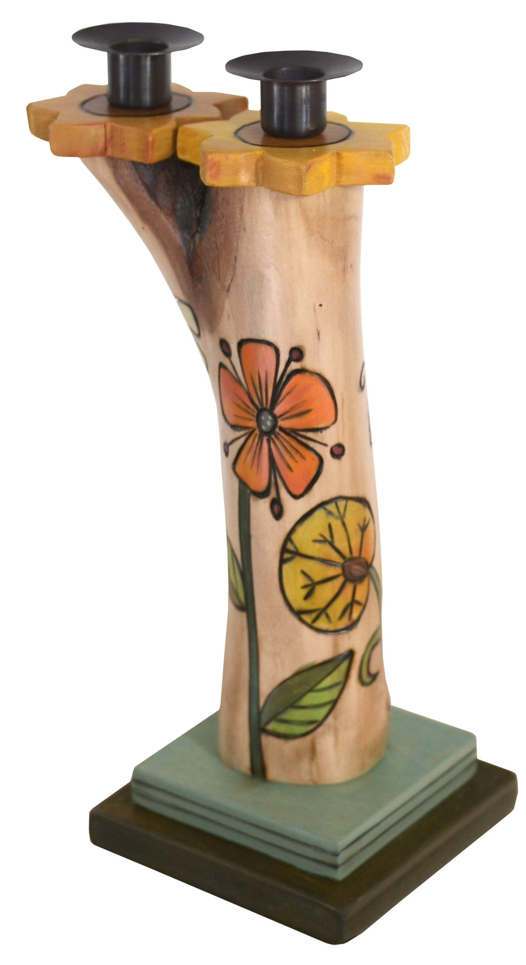 Double Candle Holder –  Beautiful birch candle holder with floral motifs