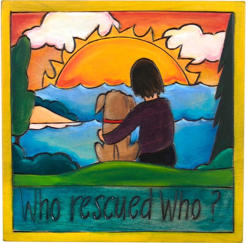"7""x7"" Plaque –  Sweet rescue dog plaque overlooking a sunset"