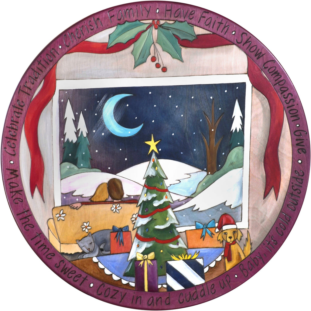 "Sticks Handmade 20""D lazy susan with cozy couple watching Christmas snow fall"