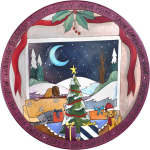 "20"" Holiday Lazy Susan – A cozy Christmas couple taking in the peaceful winter landscape in a light and bright palette"
