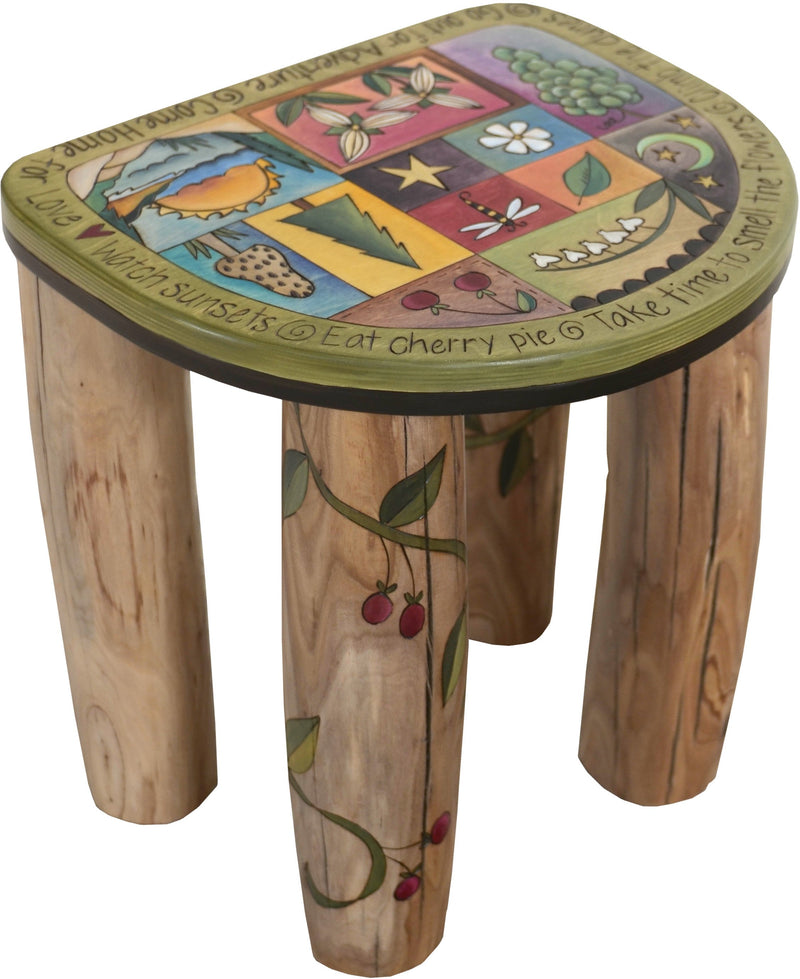 "Short Stool –  ""Go Out for Adventure/Come Home for Love"" stool with sunset over the water and flower motif"
