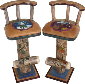 Swiveling Stool Set with Backs and Leather Seats –  Unique and eclectic folk art stools with beautifully hand painted four seasons motifs