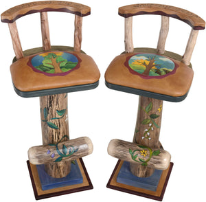 Swiveling Stool Set with Backs and Leather Seats –  Two piece stool set with spring and summer motifs