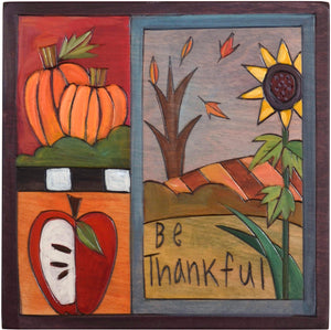 "7""x7"" Plaque –  ""Be thankful"" fall crazy quilt design"